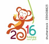 happy new year 2016 with monkey ... | Shutterstock .eps vector #350438825