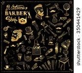vintage set barbershop tool... | Shutterstock .eps vector #350441429