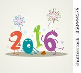 funny greeting card   happy new ... | Shutterstock .eps vector #350444579