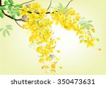Stock vector golden shower flowers or ratchaphruek yellow watercolor look on white background set of asean 350473631
