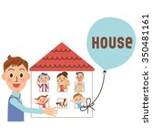 house and family three... | Shutterstock .eps vector #350481161
