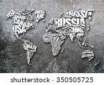 world map in typography word... | Shutterstock . vector #350505725