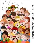 choir of children from around...   Shutterstock .eps vector #350510675