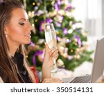young woman with evening makeup ... | Shutterstock . vector #350514131