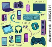 set of hand drawn gadget icons... | Shutterstock .eps vector #350525534
