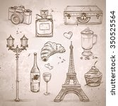 vector elements of paris with... | Shutterstock .eps vector #350525564
