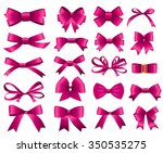 pink ribbon and bow set for...   Shutterstock .eps vector #350535275