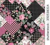 seamless floral patchwork... | Shutterstock .eps vector #350538314