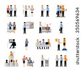 business people workplace flat... | Shutterstock .eps vector #350569634