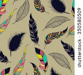feather tribal seamless pattern.... | Shutterstock .eps vector #350580509