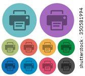 color printer flat icon set on...