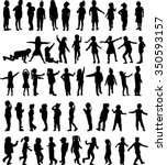 children silhouettes. vector... | Shutterstock .eps vector #350593157