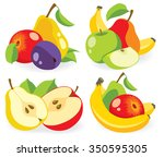 vector fruits. cut apples ... | Shutterstock .eps vector #350595305
