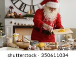 santa claus cooking at home...   Shutterstock . vector #350611034
