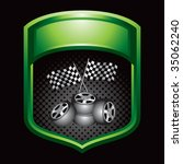 racing tires and checkered... | Shutterstock .eps vector #35062240