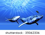 awesome   a diver encounters... | Shutterstock . vector #35062336
