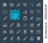 outline web icon set    office... | Shutterstock .eps vector #350625239