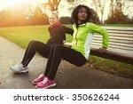 two sportswomen doing bench... | Shutterstock . vector #350626244