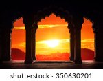 indian arch silhouette in old... | Shutterstock . vector #350630201