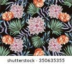 seamless tropical flower  plant ...   Shutterstock . vector #350635355
