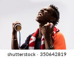 black skin african soccer fan... | Shutterstock . vector #350642819