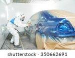 automobile repairman painter in ... | Shutterstock . vector #350662691