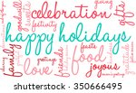 happy holidays word cloud on a... | Shutterstock .eps vector #350666495
