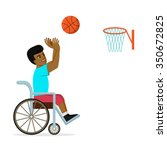 disabled african american man... | Shutterstock .eps vector #350672825