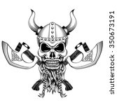 skull viking helmet with horns... | Shutterstock .eps vector #350673191