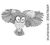 owl flying black and white... | Shutterstock .eps vector #350678669