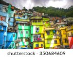 colorful painted buildings of... | Shutterstock . vector #350684609