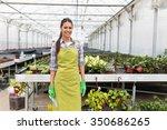 female florist working in her... | Shutterstock . vector #350686265