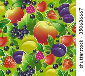 seamless pattern with fruits... | Shutterstock .eps vector #350686667