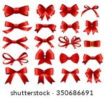 red ribbon and bow set for your ... | Shutterstock .eps vector #350686691
