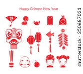 chinese new year icons set ... | Shutterstock .eps vector #350687021