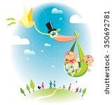 flying stork with baby   Shutterstock .eps vector #350692781
