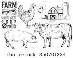 hand drawn farm animals | Shutterstock .eps vector #350701334