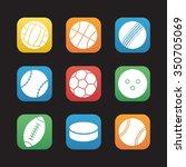 sport balls flat design icons...