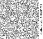 Forest seamless pattern. Vector illustration of doodle forest animals and plants seamless pattern for backgrounds, textile prints, wrapping, wallpapers