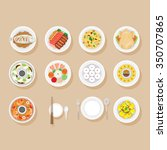 foods on dish set  traditional... | Shutterstock .eps vector #350707865