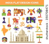set of flat design india travel ... | Shutterstock . vector #350708471