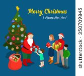 merry christmas happy new year... | Shutterstock .eps vector #350709845