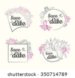 set of vector save the date ... | Shutterstock .eps vector #350714789