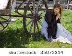 country stile model portrait - stock photo