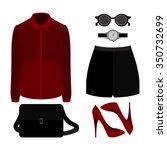 set of trendy women's clothes.... | Shutterstock .eps vector #350732699