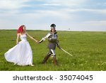 Princess Bride and her knight / wedding - stock photo