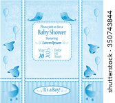 baby shower card  its a boy | Shutterstock .eps vector #350743844