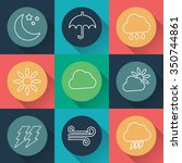 set of vector weather flat icons | Shutterstock .eps vector #350744861