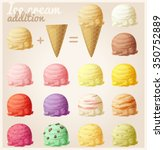 Stock vector set of cartoon icons ice cream scoops and waffle cone different favors and colors 350752889