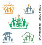 my family. vector icon set. | Shutterstock .eps vector #350754539